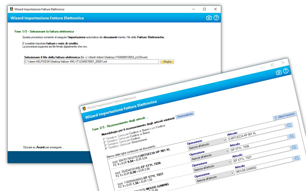 Importazione fattura nel formato XML