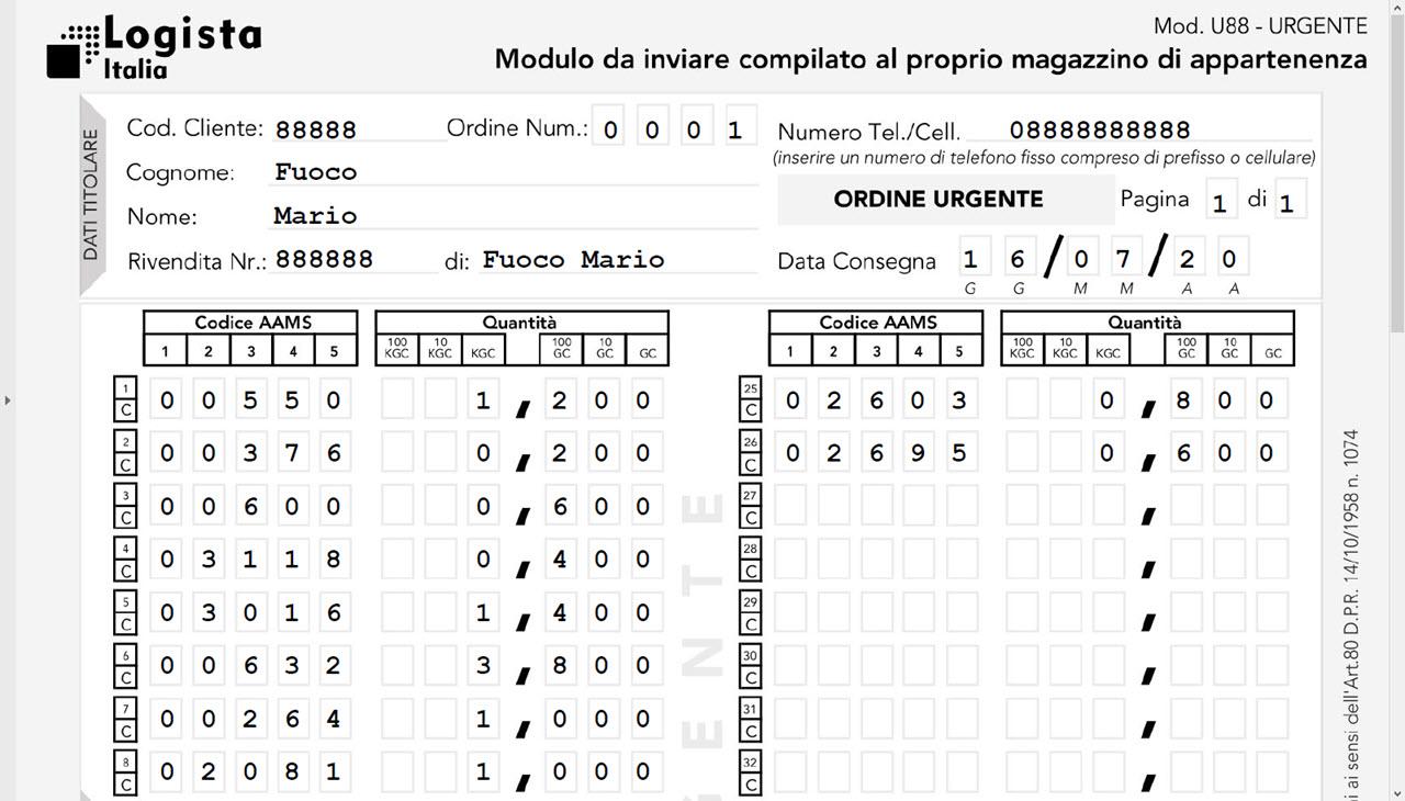 Compilazione automatica del Modulo urgente U88